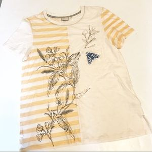 Anthropologie Postmark Embroidered Mixed Media Tee